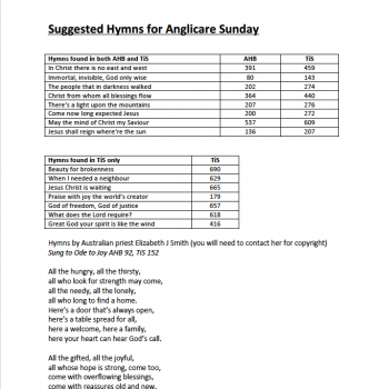 Cover page Suggested Hymns for Anglicare Sunday 2019