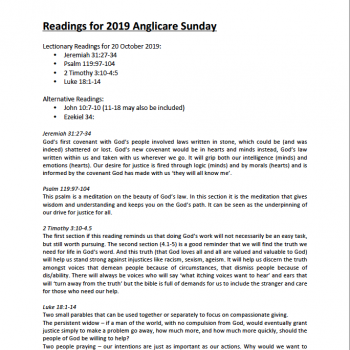 Cover page for Anglicare Sunday Readings 2019