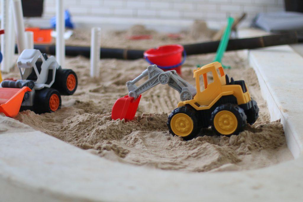 Truck toy in sandpit