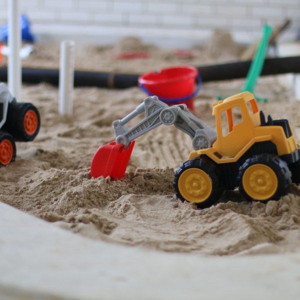 Truck toy in sandpit