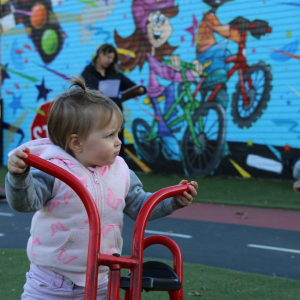 toddler beside tricycle