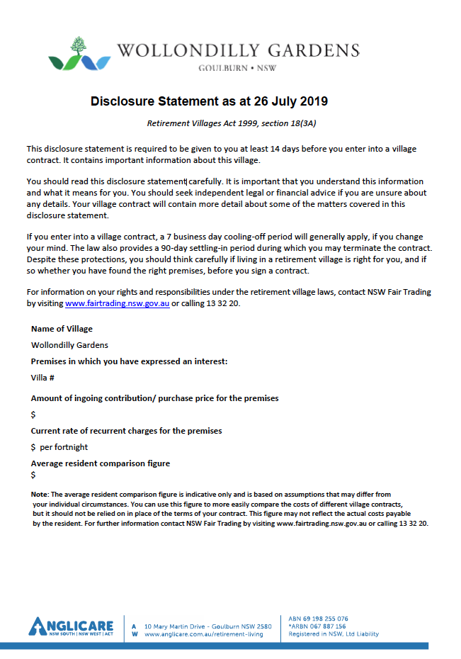 Wollondilly Disclosure Statement