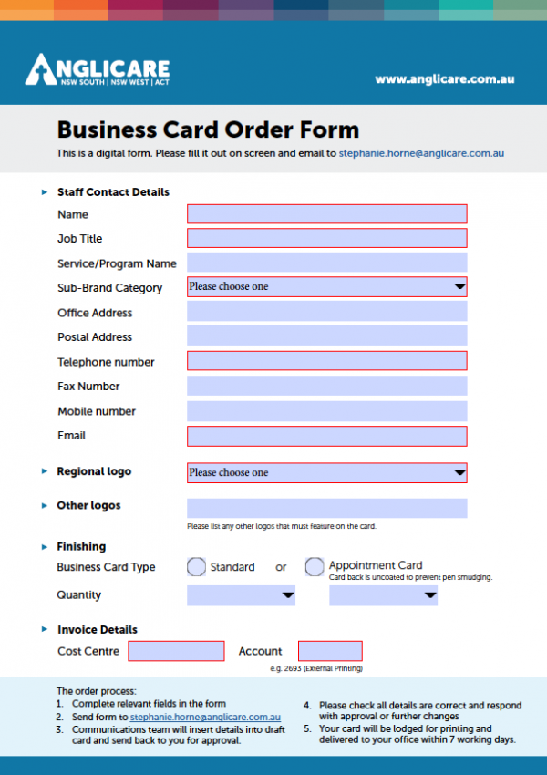 Business Card order Form