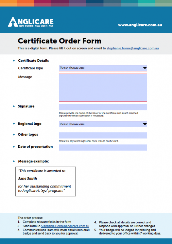 Certificate Order Form
