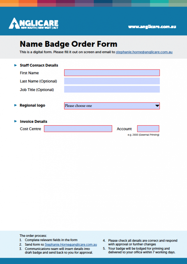 Name Badge Order Form