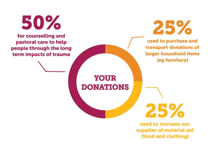 bushfire donation distribution pie chart